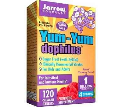 Yum-Yum Dophilus + FOS 1 billion 120 tablets - dairy-free chewable probiotic in raspberry flavour | Jarrow Formulas
