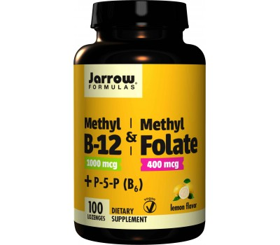 B - Methyl-B12 1mg & MethylFolate 400mcg + P5P - methylcobalamine, methylfolaat en pyridoxaal-5-fosfaat (B6) 100 zuigtabletten | Jarrow Formulas