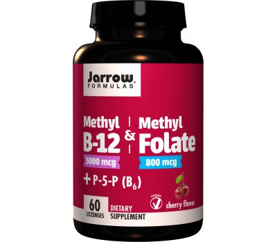 B - Methyl-B12 5mg & MethylFolate 800mcg + P5P - methylcobalamine, methylfolaat en pyridoxaal-5-fosfaat (B6) 60 zuigtabletten | Jarrow Formulas