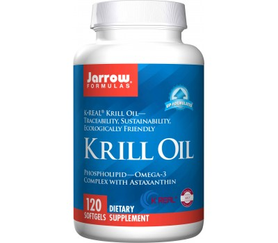 Krill Oil 120 softgels - 100% pure phospholipid-omega-3 complex with astaxanthin | Jarrow Formulas